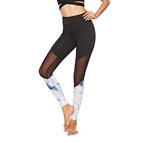 Serzul Hot!! Print Trousers Yoga Leggings Ladies Sexy Openwork Stitching Pants Lace Skinny Sweatpants - Single Openwork Wall