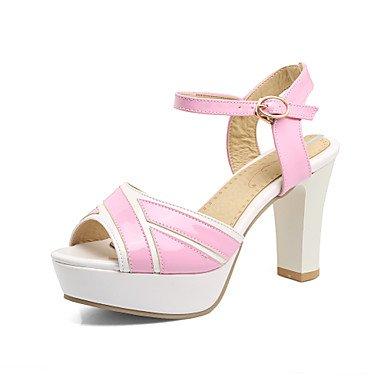 LvYuan Tacón Robusto-Talón Descubierto Zapatos del club-Sandalias-Vestido Informal Fiesta y Noche-Semicuero-Negro Azul Rosa Blanco White
