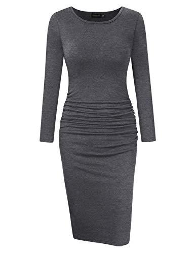 GloryStar Women's Long Sleeve Ruched Bodycon Midi Sheath Pencil Dress Grey XXL ()
