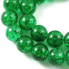 Round Glass Crackle Beads-Emerald Green 10mm (30)