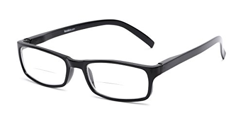 - Readers.com Bifocal Reading Glasses: The Vancouver Bifocal for Men and Women - Stylish Rectangular Bifocal Readers - Black +2.50
