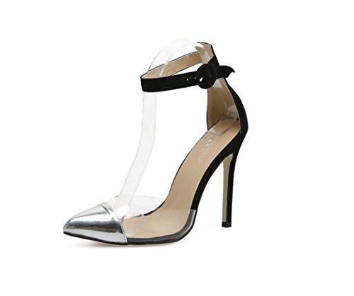 PVC Talon Bout Été Talons Straps Argent Femmes fermé Cheville Haut Chaussures Talon à Sandales Transparent Stiletto Sandales Chaussures 1cqFAz