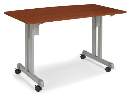 OFM 55111-CHY Multiuse Table Cherry with Silver Frame, 24 by 48-Inch by OFM