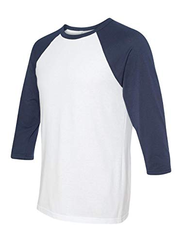 - Bella + Canvas Unisex Jersey 3/4 Sleeve Baseball Tee, White/Navy, Medium