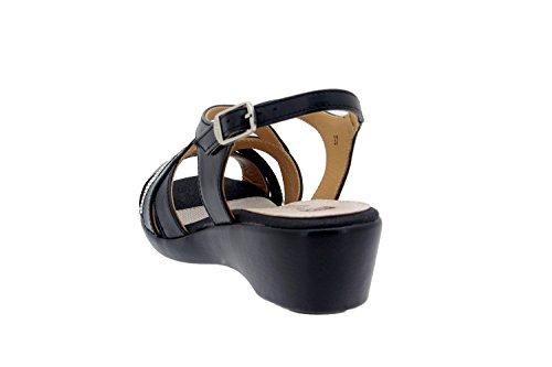 Chaussures en cuir Femme confort-Piesanto 8558 Sandales cale chaussure confortable large Noir 8Ov2Tyb