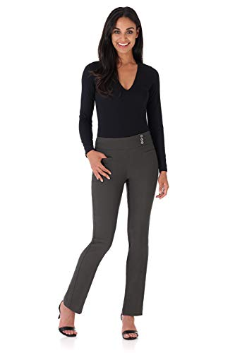 Rekucci Women's Ease Into Comfort Everyday Chic Straight Pant w/Tummy Control (4,Spruce)