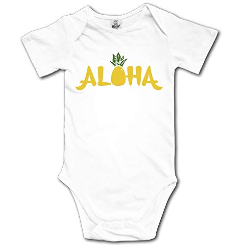 Ghhpws Aloha Pineapples Baby's Unisex Short Sleeve Comfortable Infant Snapsuit White Size 0-3 M