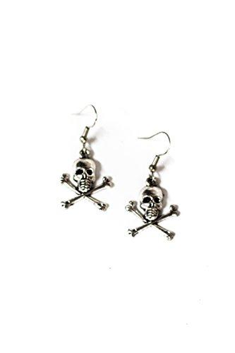 (Small Skull & Crossbones Silver Toned Dangle Earrings)