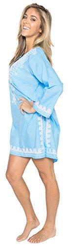tunica abbigliamento costume tutto top Leela salone szie scollo beachwear casual Blu party più bagno elastico da rayon in corto manicotto kimono collo profondo beach caftano 1 signore l632 pie ricamato maxi La vTqaxwX7nT