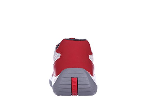 Prada Zapatos Zapatillas de Deporte Hombres EN Piel Nuevo Nevada Rojo