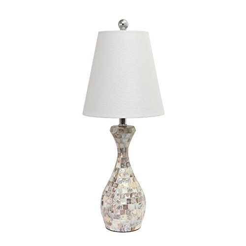 Elegant Designs Trendy Malibu Seashell Mosaic Look Curved Table Lamp with Chrome Accents (Shell Mosaic Table Lamp)