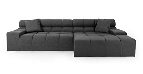 Kardiel Cubix Modern Modular Right Sectional Sofa, Charco...