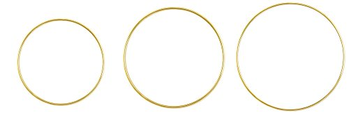 (Metal Rings for Craft - Metal Rings Hoops - Macrame Dream Catcher Floral Jewelry Making Brass Rings - Large, Round, Brass (8in + 12in + 14in))