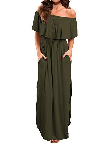 VERABENDI Women's Off Shoulder Summer Casual Long Ruffle Beach Maxi Dress with Pockets Army Green L