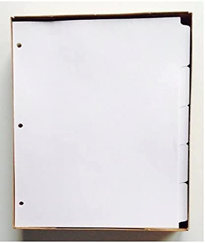 """5-Tab White Ring-Book Index Divider Sheets, 8.5"""" x 11"""", 3-Hole Punched - 6 Sets"""