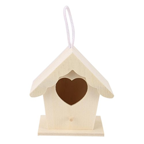 (Yeefant 1Pcs Creative Wall Mounted Nest Bird House Wooden Outdoor Box,0.33x0.30 Ft)