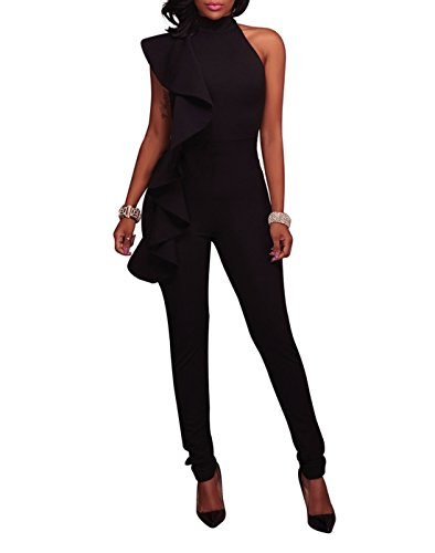 Solid Ruffle Strapless Jumpsuit -Milliwin Women Sexy High Waist Clubwear Long Pants Rompers