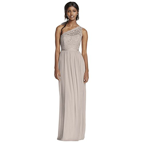 Long One Shoulder Lace Bridesmaid Dress Style F17063, Rose Gold Metallic, 0 (One Gown Shoulder Metallic)