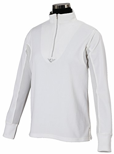 TuffRider Childrens Ventilated Technical Long Sleeve Sport Shirt with Mesh, White, Medium