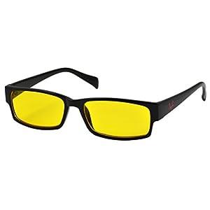 OX Legacy G-3 Blue Light Filter 55mm Yellow Amber Lens Thin Rectangle Anti-Glare UV Blocking Glasses, Black Frame