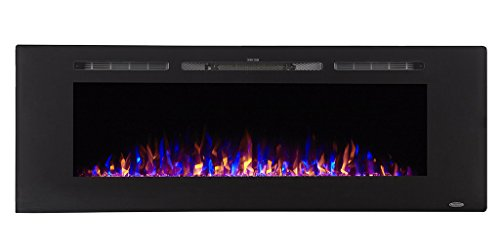 Touchstone 80011 - Sideline Electric Fireplace - 60 Inch Wide - in Wall Recessed - 5 Flame Settings - Realistic 3 Color Flame - 1500/750 Watt Heater - (Black) - Log & Crystal Hearth Options