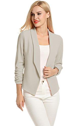 POGT Women 3/4 Sleeve Blazer Open Front Cardigan Jacket Work Office Blazer (S, Light Gray)