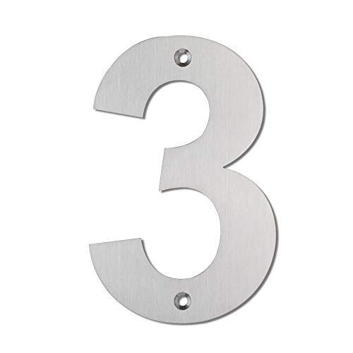 Mellewell House Address Numbers Door Metal Sign Digits 5 Inch Stainless Steel Brushed Nickel, Number 3 Three, HN05ABS-3