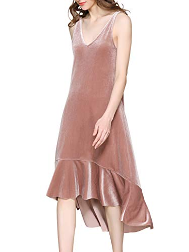 - Spicy Sandia Long Velvet Dress Women V-Neck Sleeveless Casual Dusty Pink Dresses, X-Large Size