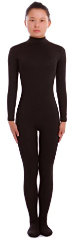 Seeksmile Unisex Second Skin Lycra Spandex Dancewear Catsuit Bodysuit (Kids Medium, Black) - Kids Body Suit