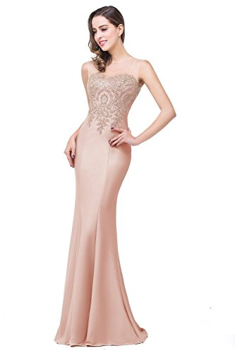 Women Lace Appliques Sheer Long Prom Dress Mermaid Evening Gowns Nude Pink US14