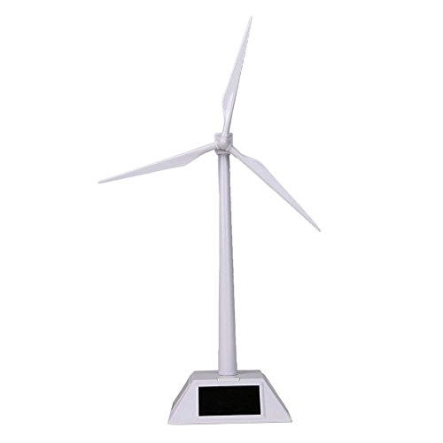 (HUAWELL Desktop Wind Turbine Model Solar Powered Windmills ABS Plastics White for Education or Fun)