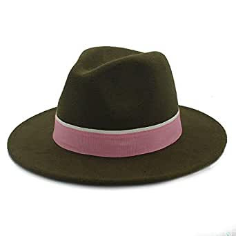 SHENTIANWEI Men Women Winter Fedora Hat with Pink Cloth Belt Pop Wide Brim Church Fascinator Hat Panama Jazz Hat Size 56-58CM (Color : Army Green, Size : 56-58)