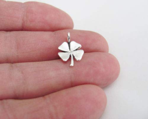 Silver Clover Key Pendant - Sterling Silver 13mm Lucky 4 Leaf Clover Small Pendant - Jewelry Accessories Key Chain Bracelet Necklace Pendants
