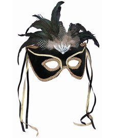 Forum Novelties Black Venetian Karneval Mask - Female Mask For Sale