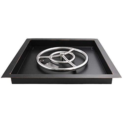 Skyflame 18-Inch Square Drop-in Fire Pit Burner Ring and Pan - Made of SUS 304 Stainless Steel, Oil Rubbed Bronze