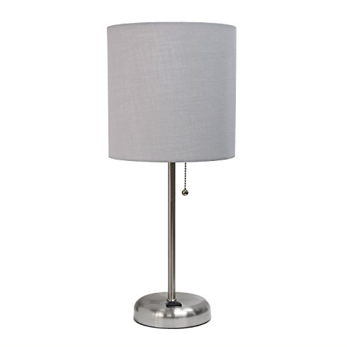 Limelights LT2024-GRY Brushed Steel Lamp with Charging Outlet and Fabric Shade, Grey
