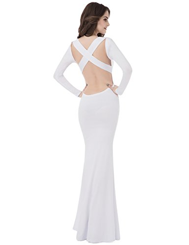 Back Evening Open Dresses Gowns Long Sarahbridal Mermiad Women's Party Prom White q0xYwFf
