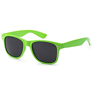 Retro Style Sunglasses - Bright Neon or Solid Colors with Classic 80's Style Design (Neon Green)