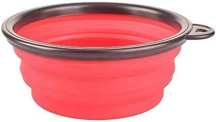 Bol plegable para mascotas, cuenco de silicona plegable para perros y mascotas, cuenco para alimentos con hebilla (color: rojo, tamaño: L)