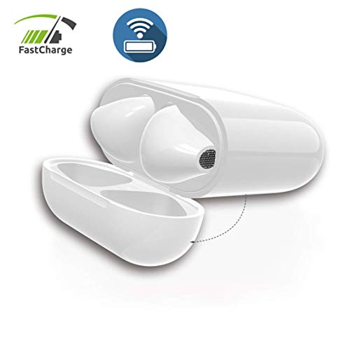 (RIBFA Air Pods Charging Case Replacement with Wireless Function, AirPod Charger with Wireless Function, No Bluetooth Button, AirPods not Included, White Color )