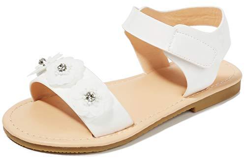 Girls Dress Sandals 0-6 Bridesmaid Wedding Platform Size 1M Little Girls Wedge Flat 8t Prom Performance Ivory-Sequins Kids Flower Bench Sandals Summer Cute Mary Jane Toddler Heeled Shoes ( Ivory-Sequins 32)