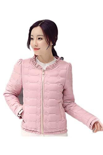Coat Pink Giacche Giacca Volant Con Colore Tasche Piumini Donna Cappotto Puro Lunga Trapuntata Autunno Chiusura Vintage Manica Invernali Fashion A Cerniera Abbigliamento Casual BFBwRYq