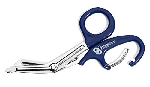 EMT Trauma Shears with Carabiner - Stainless Steel Bandage Scissors for Surgical, Medical & Nursing Purposes - Sharp Curved Scissor is Perfect for EMS, Doctors, Nurses, Cutting Bandages (Blue)