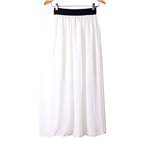 Morbuy Jupe Femme Longue Taille Elastique Longueur de la Cheville Jupes L't A-Ligne Casual lgante Jupe Pliss Cocktail. Blanc