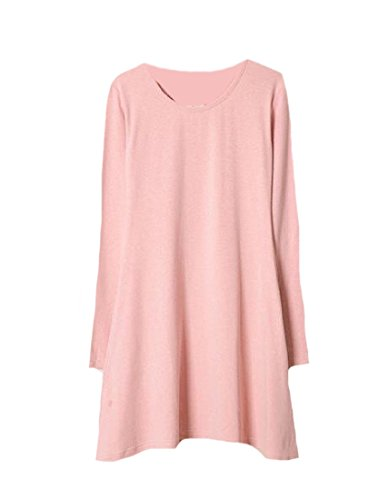 Coolred-femmes Couleur Pure Col Rond Manches Longues Mini-robe Casual Rose
