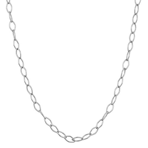 Sterling Silver 2.1mm Open Link Chain (24 Inch) (24 Inch Open Link Necklace)
