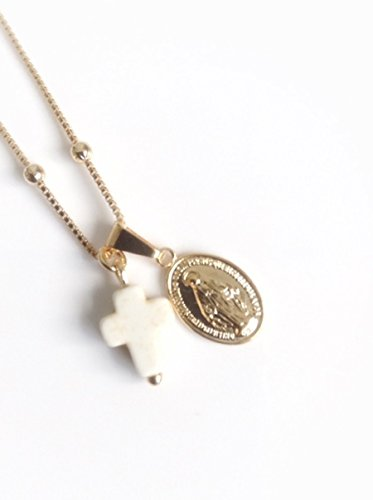 Cross Necklace 18k Gold Plated Miraculous Medal 18 inches ball Chain Medalla Virgen de la Milagrosa