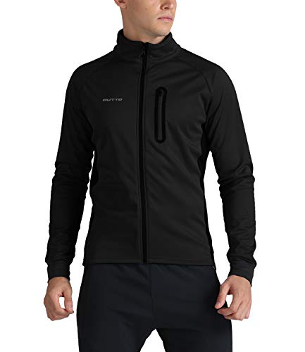 Outto Men's Winter Fleece Cycling Jacket Bike Thermal Reflective Windproof Water-Resistant(Medium,Black)
