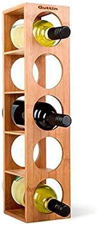 Quttin - Botellero de bambú 5 cavidades, Talla única 53 x 13 x 13,5 cm. Estante, Soporte de Madera con 5 baldas para Botellas de Vino, champán. Estantería, Organizador de Bebidas para Cocina (1)
