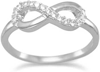 925 Sterling Silver Rhodium Plated CZ Infinity Ring (Sizes 4-11)